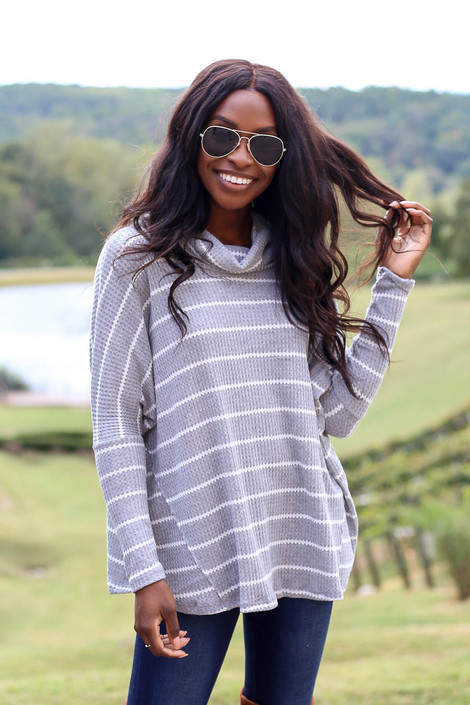 Heather Grey - Striped Waffle Knit Top Front View