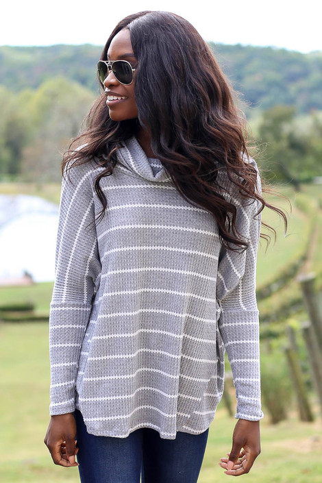 Dress Up Model Heather Grey Striped Waffle Knit Top Front View