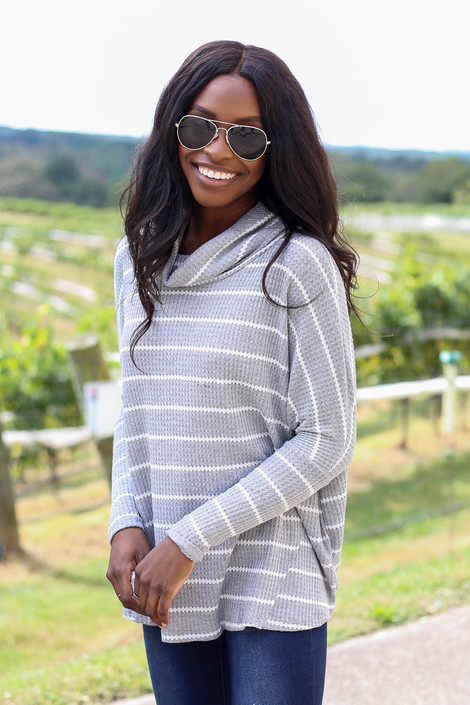 Dress Up Model Heather Grey Striped Waffle Knit Top Side View