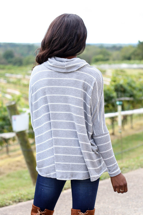 Dress Up Model Heather Grey Striped Waffle Knit Top Back View