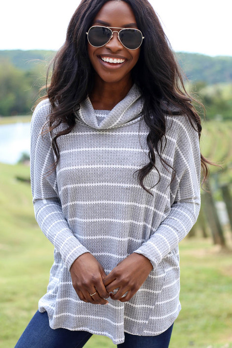 Heather Grey - Striped Waffle Knit Top
