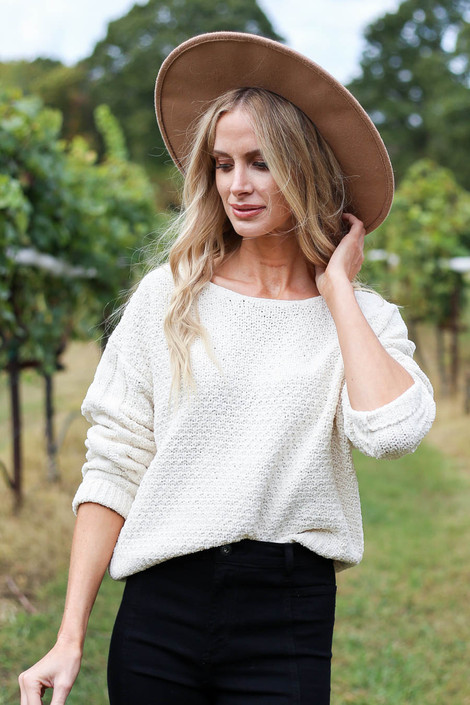 Ivory - Chenille Cropped Sweater Front View