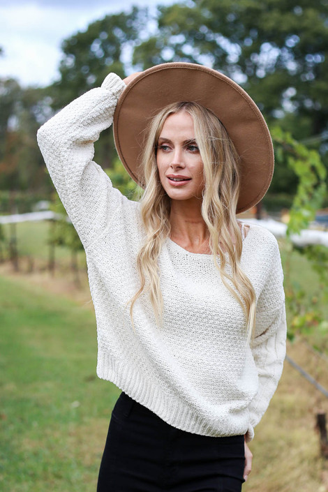 Ivory - Chenille Cropped Sweater