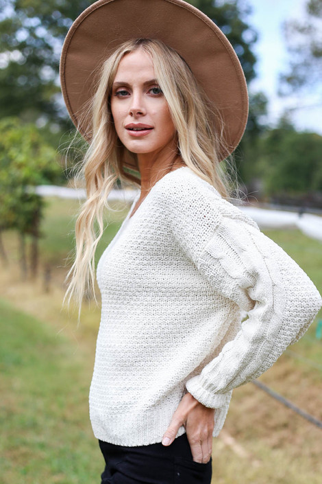 Ivory - Chenille Cropped Sweater Side View