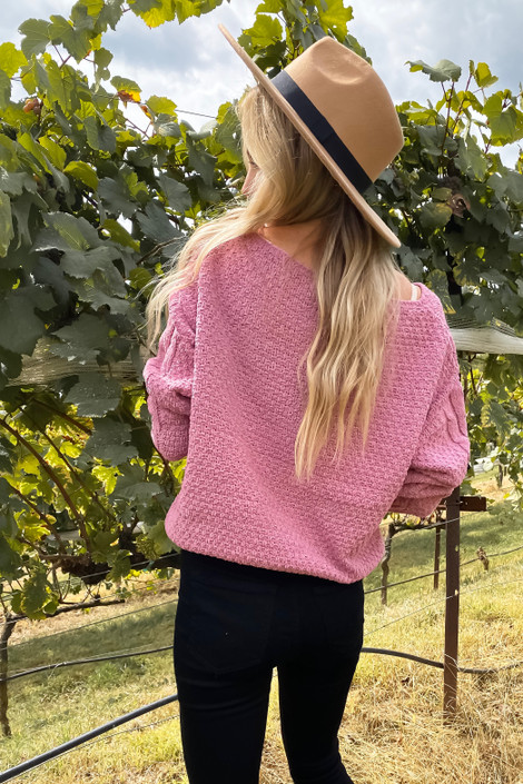 Pink - Chenille Cropped Sweater Back View
