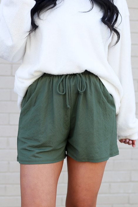 Olive - Pocketed Shorts Detail View
