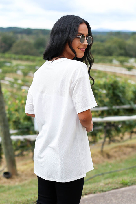 White - V-Neck Basic Tee Back View