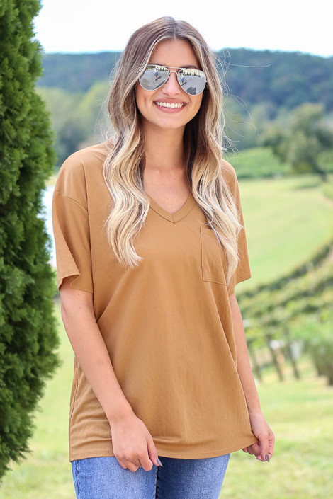 Camel - V-Neck Basic Tee