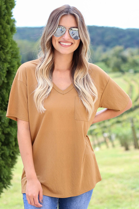 Dress Up Model wearing Camel V-Neck Basic Tee