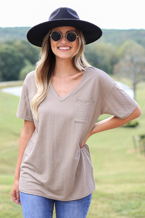 Taupe - V-Neck Basic Tee