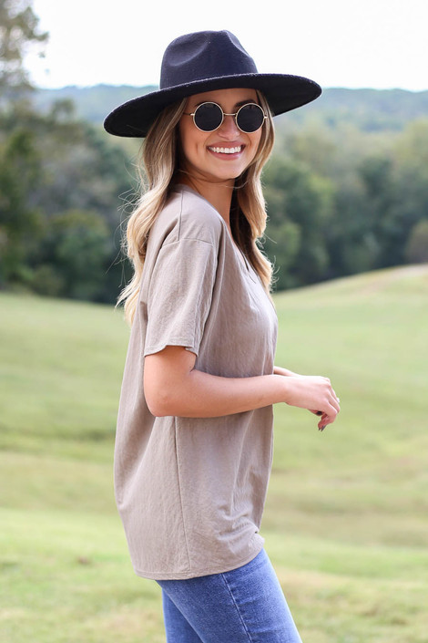 Taupe - V-Neck Basic Tee Side View