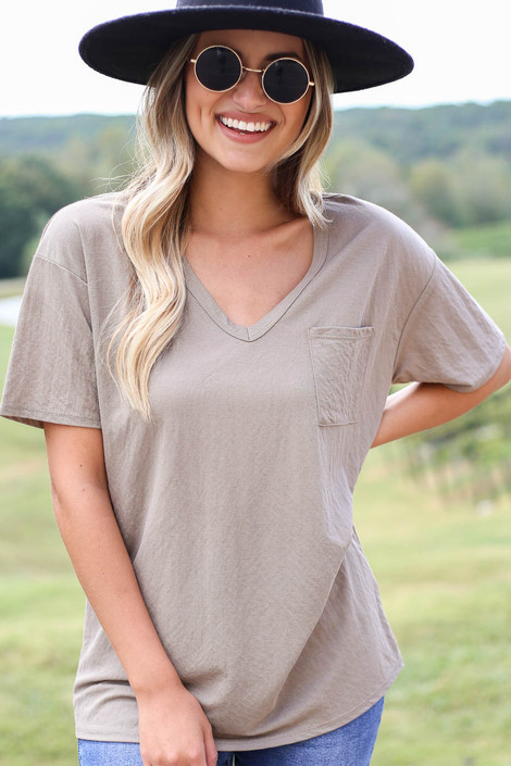 Dress Up Model wearing Taupe V-Neck Basic Tee