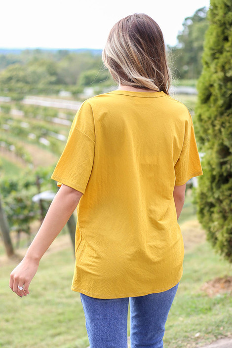 Dress Up Model wearing Mustard V-Neck Basic Tee Back View