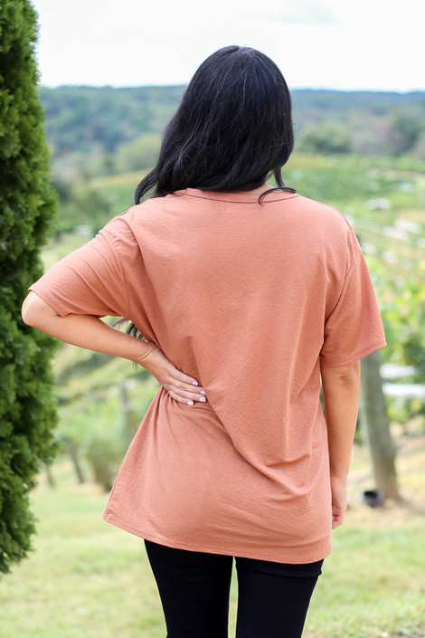 Rust - V-Neck Basic Tee Back View