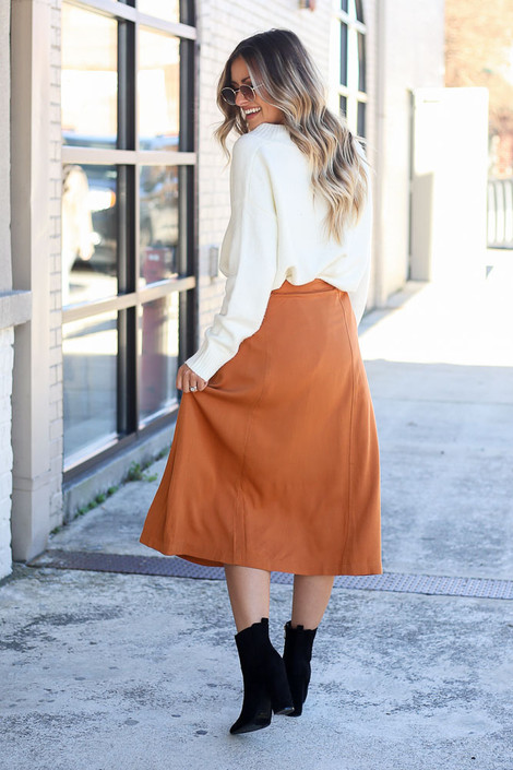 Dress Up Model wearing Camel Button Front Tie-Waist Midi Skirt Side View
