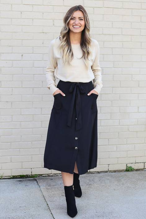 Black - Button Front Tie-Waist Midi Skirt