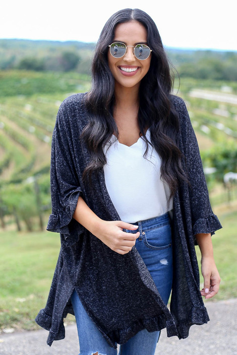 Black - Ruffle Hem Brushed Knit Cardigan