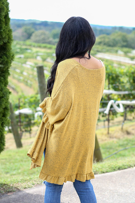Mustard - Ruffle Hem Brushed Knit Cardigan Back View