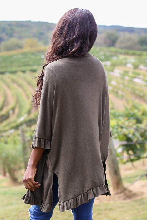 Dress Up Model wearing Olive Ruffle Hem Brushed Knit Cardigan Back View