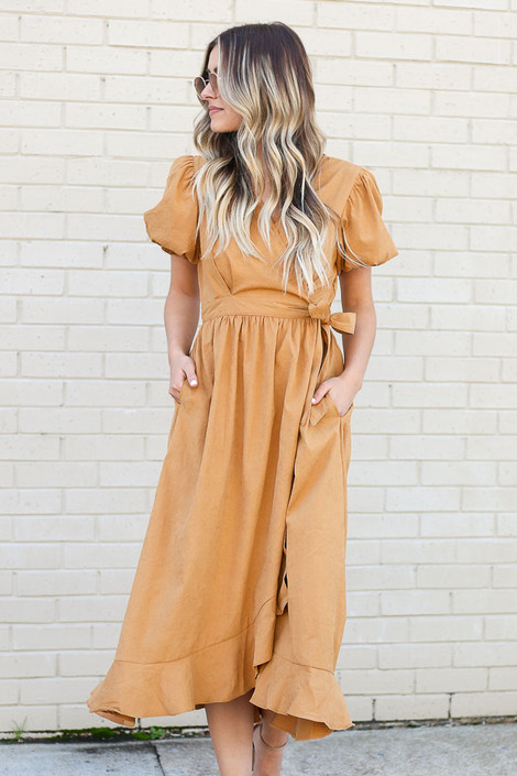 Camel - Puff Sleeve Midi Dress