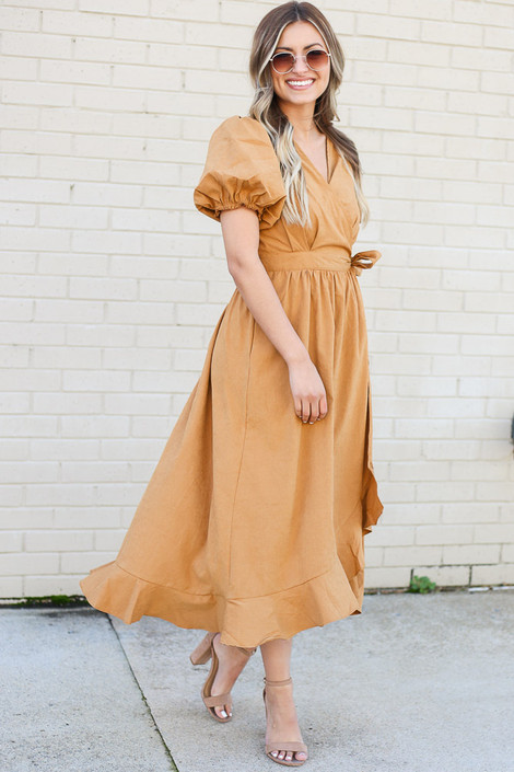 Camel - Puff Sleeve Midi Dress Side View