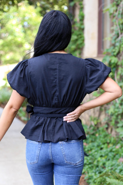 Black - Puff Sleeve Wrap Top Back View