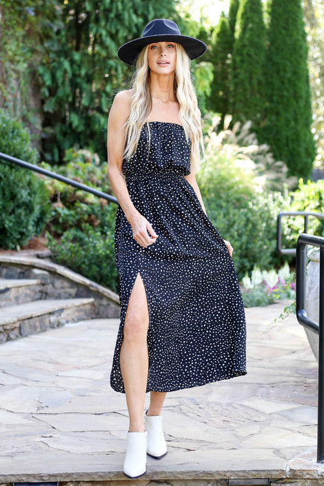 Black - Spotted Strapless Midi Dress