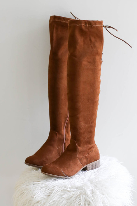 Tan - Over The Knee Faux Suede Lace Back Boots