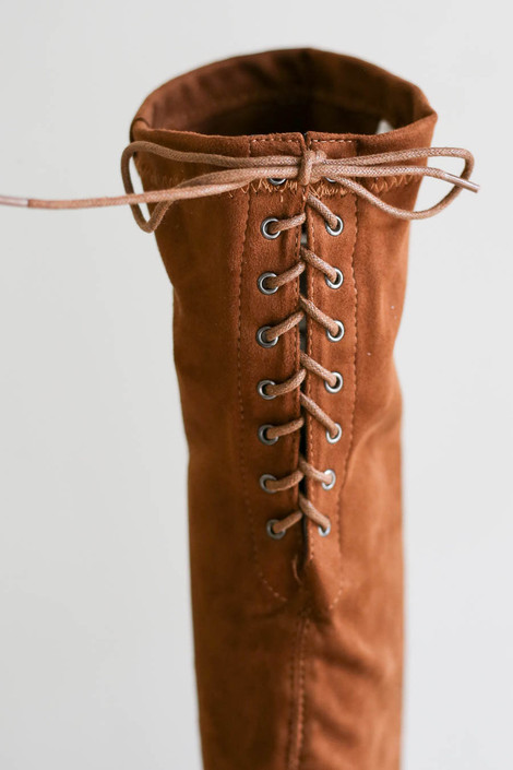 Tan - Over The Knee Faux Suede Lace Back Boots Detail ViewTan - Over The Knee Faux Suede Lace Back Boots