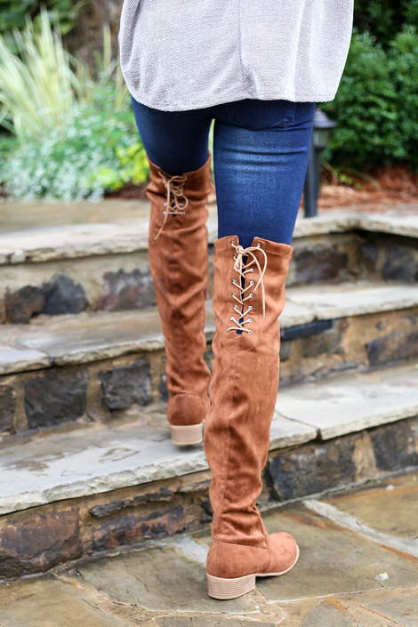 Tan - Over The Knee Faux Suede Lace Back Boots Back View