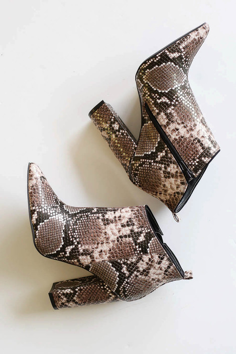 Brown - Block High Heel Pointed Booties Product Photo Detail View