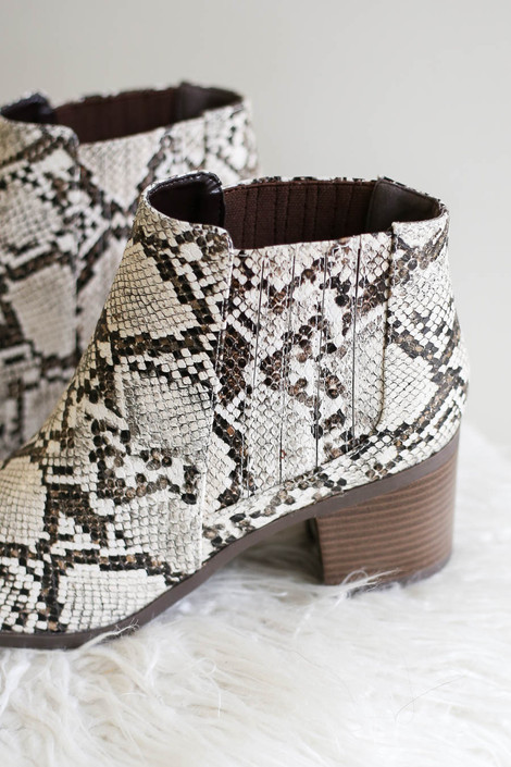 Ivory - Snakeskin Wooden Heel Ankle Booties Detail View