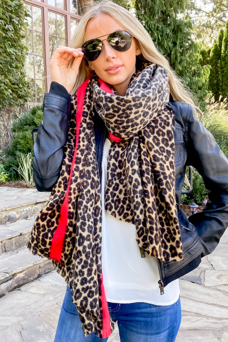 Dress Up Model wearing Leopard Print + Red Contrast Fleece Scarf