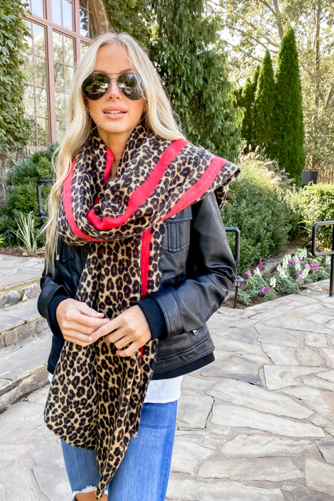 Dress Up Model wearing Leopard Print + Red Contrast Fleece Scarf Side View