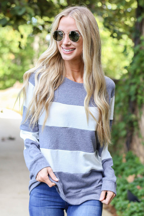 Grey - and White Striped Pullover