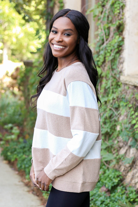 Model wearing Taupe and White Striped Pullover Side View