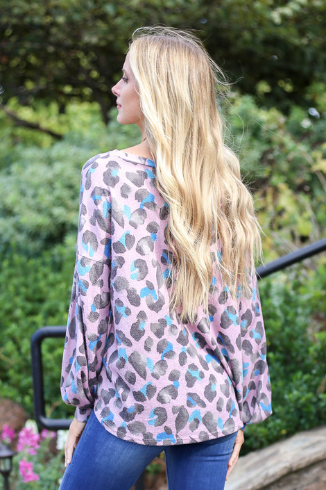 Blush - Leopard Print Knit Balloon Sleeve Top Back View