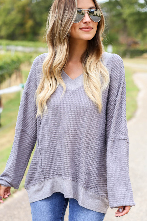 Grey - Waffle Knit Open Back Top