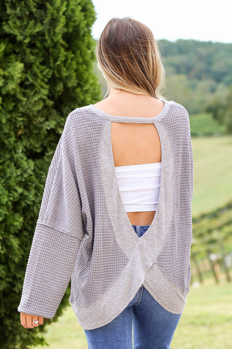 Grey - Waffle Knit Open Back Top Back View