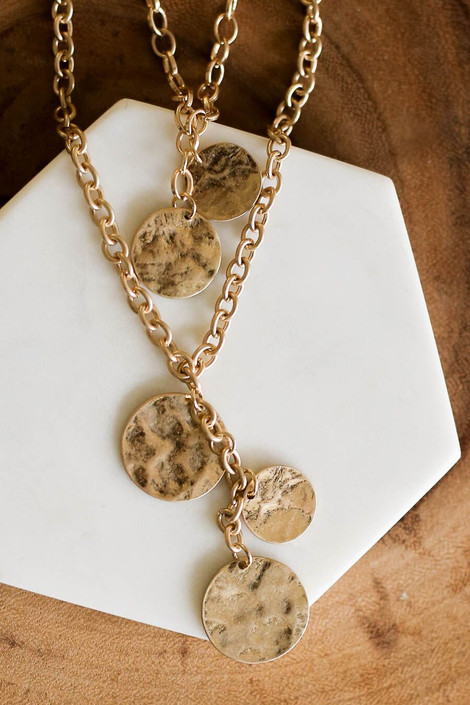 Gold - Layered Disc Charm Necklace from Dress Up Boutique