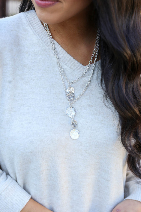 Silver - Layered Disc Charm Necklace from Dress Up Boutique on Model
