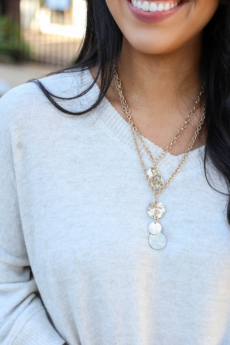 Gold - Layered Disc Charm Necklace from Dress Up Boutique on Model