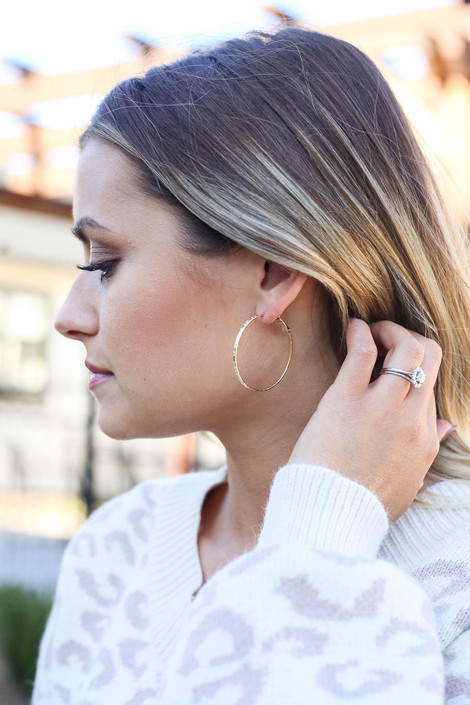 Gold - Textured Hoop Earrings On Model