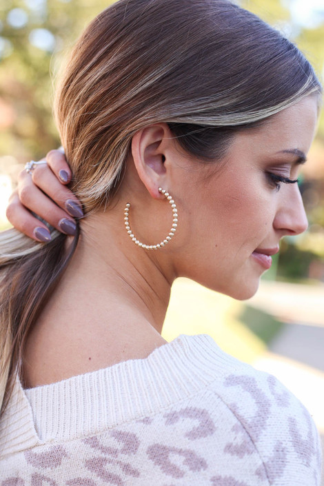 Gold - Beaded Hoop Earrings on Model