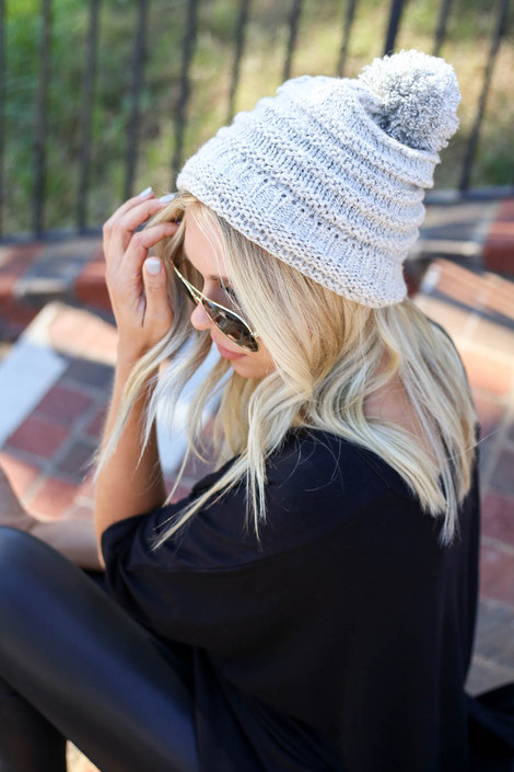 Dress Up Model wearing White Knit Pom Pom Beanie