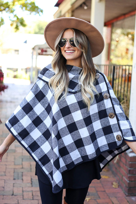 White - and Black Buffalo Plaid Folder Poncho