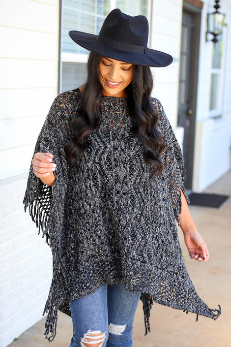 Black - Open Knit Fringe Poncho Front View