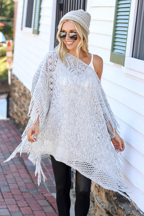 Grey - Open Knit Fringe Poncho Front View