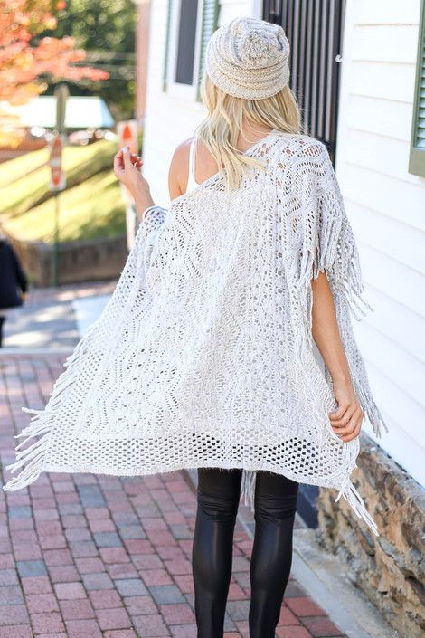 Grey - Open Knit Fringe Poncho Back View