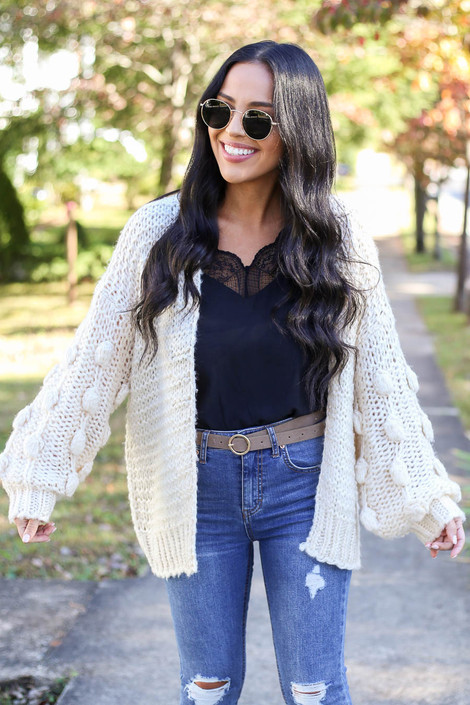 Ivory - Pom Pom Sweater Cardigan Front View